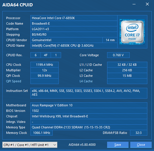 Intel Core i7-6850K CPU @ 3.60GHz