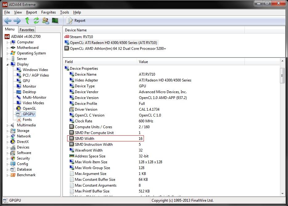 GPGPU Benchmark: RV710 incorrect core count - Bug reports